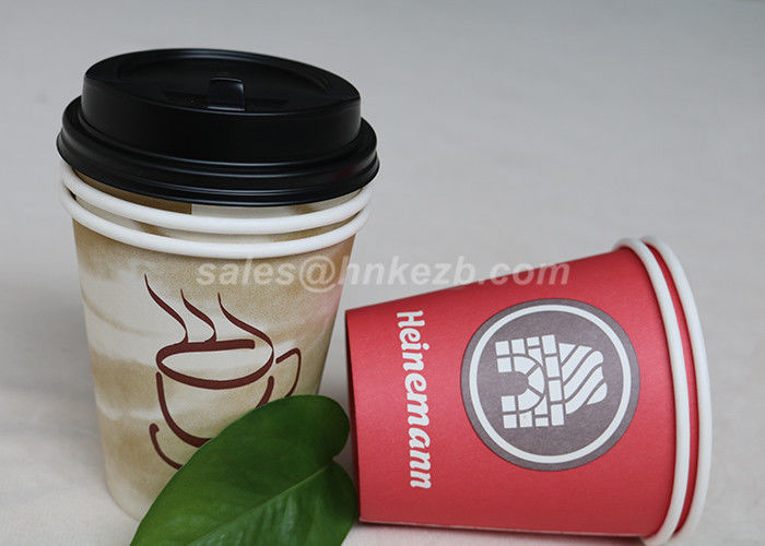 10 OZ Custom Printed Disposable Coffee Cups With Lids For Drinking