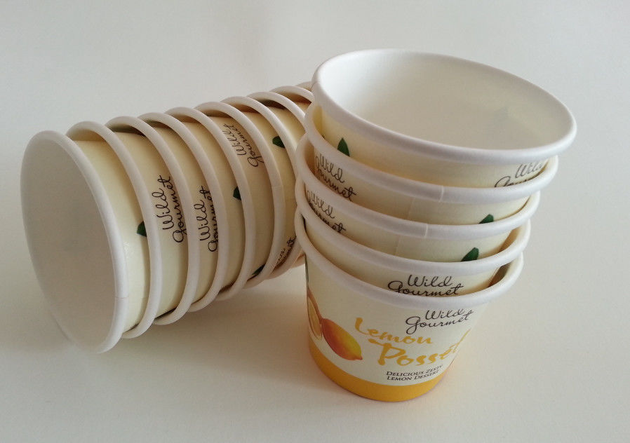 Food Grade Customized Ice Cream Paper Cups Glossy Printing For Cold Beverages