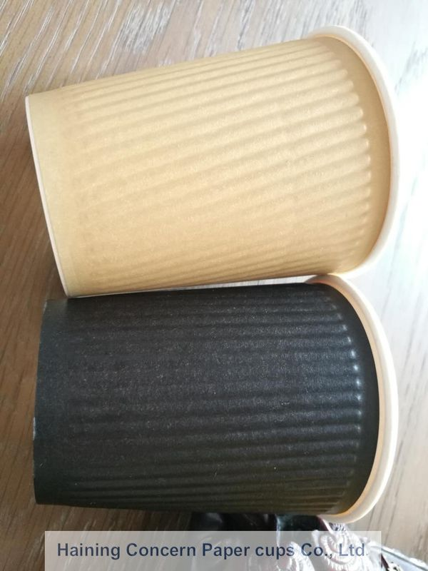 Embossing Double Walled Disposable Coffee Cups , Black Color Small Paper Cups